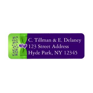 DRUCKband lila, grünes Hochzeits-Adressen-Etikett Rücksendeetikett