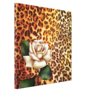 Druckleopard-Weiß-Rose des Aufenthalt-wilden Leinwanddruck
