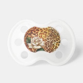 Druckleopard-Weiß-Rose des Aufenthalt-wilden Schnuller