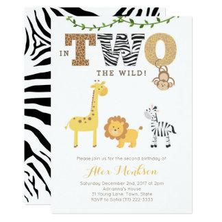 Dschungel-2. Geburtstag lädt, Affe-GiraffeZebra Karte