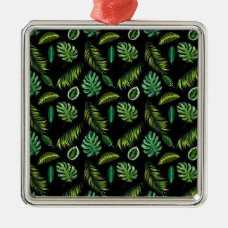 Dschungel-Blatt-Palmen-Waldcooles grünes Silbernes Ornament