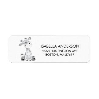 Dschungel-Giraffen-Babyparty-Adressen-Etikett