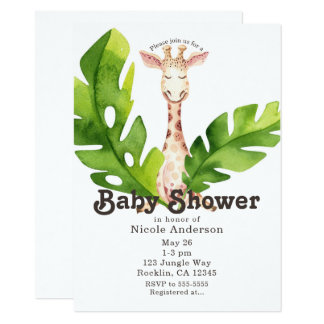 Dschungel-Giraffewatercolor-Baby-Duschen-Party Karte