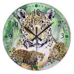 Dschungel-Jaguar-Aquarell-schöne Kunst Wanduhren