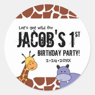 Dschungel, Safari-1. Geburtstag, personalisiert Runder Aufkleber