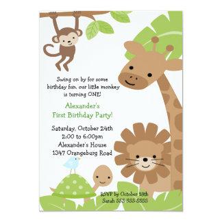 Dschungel-Safari-Geburtstags-Einladung 12,7 X 17,8 Cm Einladungskarte