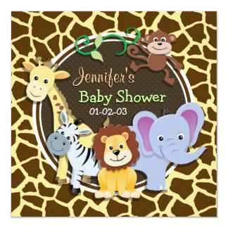 Dschungel-Tiere auf Brown-Giraffen-Tierdruck Quadratische 13,3 Cm Einladungskarte