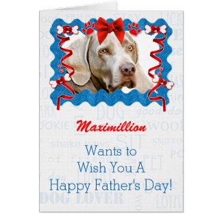 Du chien la fête des pères en bleu et rouge carte de vœux
