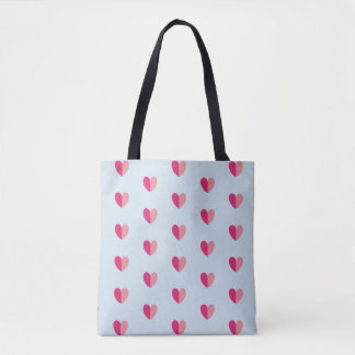 Dual Shade Pink Hearts Valentines Tote Bag Tasche