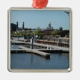 Dubuque, Iowa-Eis-Hafen, Fluss Mississipi Silbernes Ornament