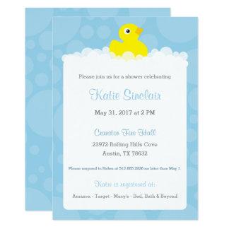Ducky Babyparty-Gummieinladung - Blau Karte