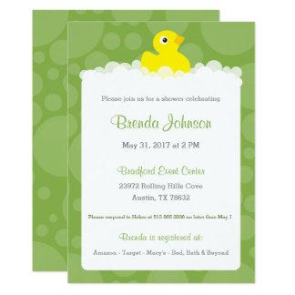 Ducky Babyparty-Gummieinladung - Grün 12,7 X 17,8 Cm Einladungskarte