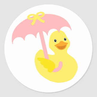 Ducky Babypartygummiaufkleber u. rosa Regenschirm Runder Aufkleber