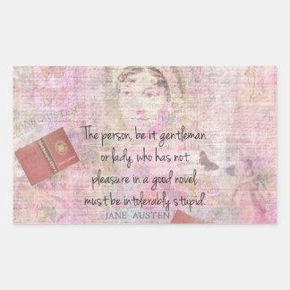 Dummer Zitat-Spaß Janes Austen untragbar Rechteckiger Aufkleber
