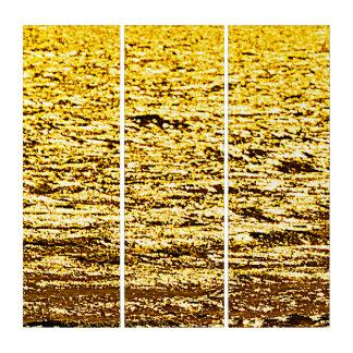 Dummkopf-Goldpyrit-abstrakte Triptychon-Wand-Kunst Triptychon