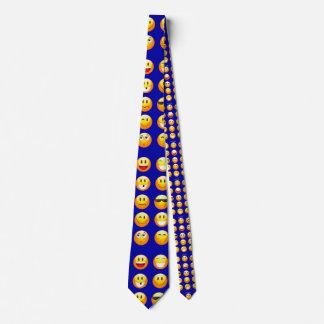 dunkelblaue emojis bedruckte krawatte