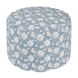 Dunkelblaues Blumen-Muster-runder Puff Hocker
