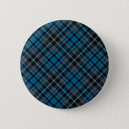 Dunkelblaues kariertes runder button 5,1 cm
