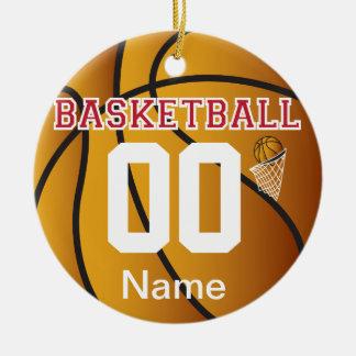 Dunkelrot personifizieren Sie Basketball mit Zahl Keramik Ornament