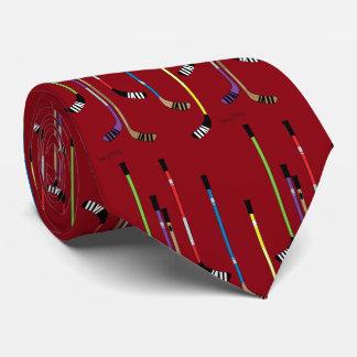 Dunkelrote Hockey-Stöcke Personalisierte Krawatten