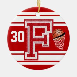 Dunkelroter Basketball alle Uni-Buchstaben - F Keramik Ornament