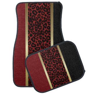 Dunkelroter Leopard-Tierdruck-Muster | TAN Auto Fussmatte