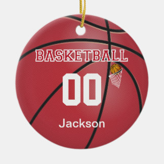 Dunkelroter Name u. Zahl des Basketball-| DIY Keramik Ornament