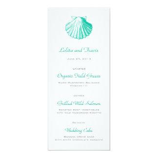 Dunkle Aqua-SeeMuschel-Hochzeits-Menü-Karte 10,2 X 23,5 Cm Einladungskarte