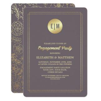 Dunkle Goldfolien-Verlobungs-Party Einladung des