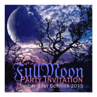 Dunkle Natur-Vollmond-Halloween-Party-Einladungen Karte