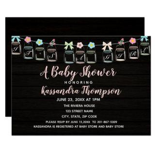 Dunkle rustikale Weckglas-Baby-Duschen-Einladung Karte