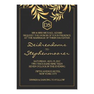 Luxury Dark White Golden Leaves Wedding Card