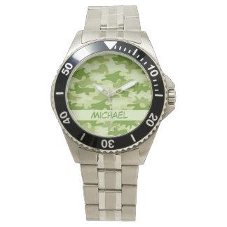 Dunkler olivgrünes Grün-Camouflage-Tarnungs-Name Uhr