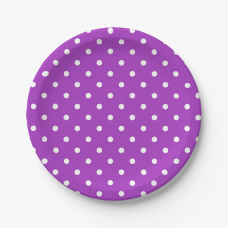Dunkler Orchideen-Polka-Punkt-Papier-Teller Pappteller 17,8 Cm