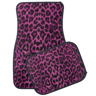Dunkler rosa lila Leopard-Tierdruck-Auto-Matten Auto Fussmatte