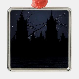 Dunkler Szenen-Illustrations-Druck Silbernes Ornament