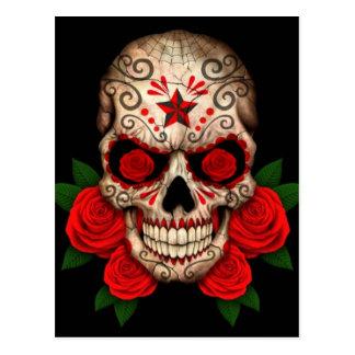 Dunkler Zuckerschädel mit Roten Rosen Postkarte