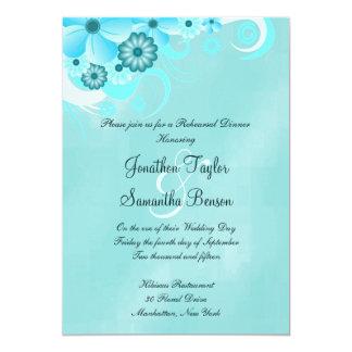 Dunkles aquamarines blaues BlumenProben-Abendessen 12,7 X 17,8 Cm Einladungskarte