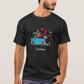 "Dunkles Basic T-shirt mit lustigem Motiv ""Holiday"""