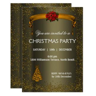 Dunkles Bronze-und GoldGlitzer-Weihnachten Karte