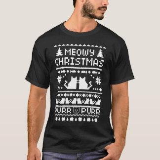 Dunkles das Meowy der Männer Weihnachtshässlicher T-Shirt