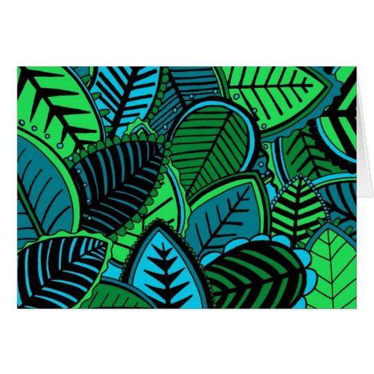 Dunkles Dschungel-Blätter Grußkarte
