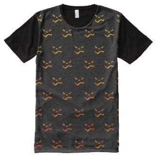 dunkles Halloween-Grimassenmuster T-Shirt Mit Bedruckbarer Vorderseite