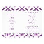 Dunkles lila Vintages Damast-Hochzeits-Programm Flyerbedruckung