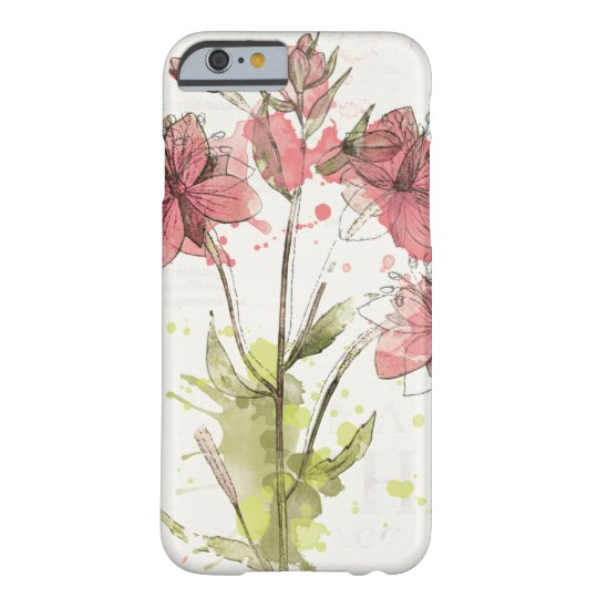 Dunkles rosa mit Blumenspritzen Barely There iPhone 6 Hülle