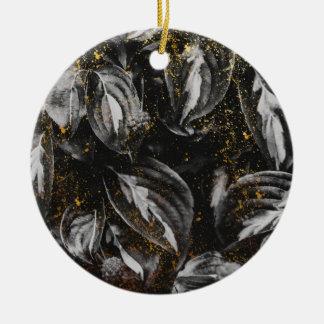Dunkles Schwarzes und GoldBlätter-botanische Natur Keramik Ornament