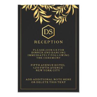 Luxury Dark White Golden Leaves Wedding Reception