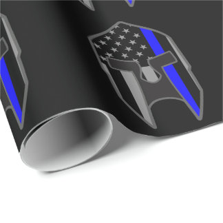 DÜNNE BLUE LINE-Flagge-spartanische Einpackpapier