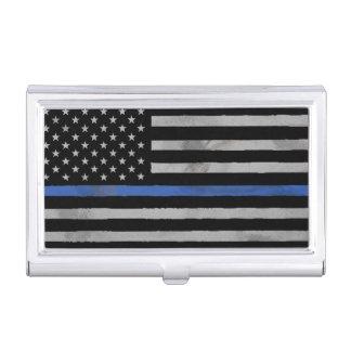 Dünne Blue Line Tattered beunruhigte Flagge Visitenkarten-Dose