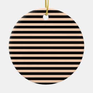 Dünne Streifen - schwarz und tiefer Pfirsich Keramik Ornament